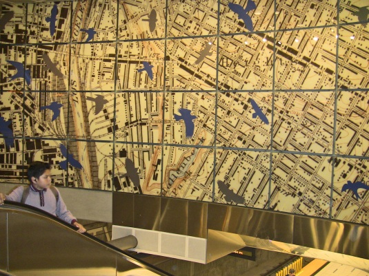 An artistic map of Boyle Heights covers the wall at Soto Station. / D. Solomon