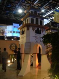 a cardboard version of Tijuana's Agua Caliente Tower at Tijuana Innovadora