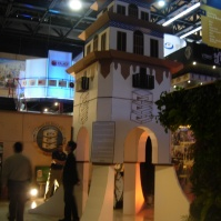 a cardboard version of Tijuana's Agua Caliente Tower at Tijuana Innovadora