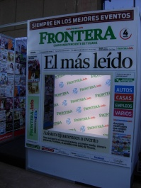 a booth advertises the Frontera newspaper at Tijuana Innovadora