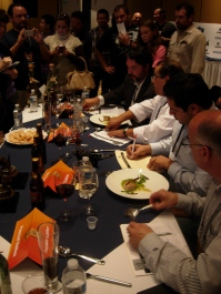 judges at Iron Chef Tijuana consider the food. Second from right is our L.A. friend Bill Esparza, blogger of Street Gourmet L.A.