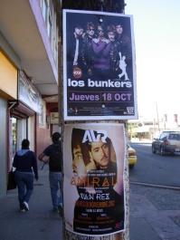 a Los Bunkers poster on Avenida Revolucion