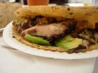 a squid taco from Tacos Kokopelli