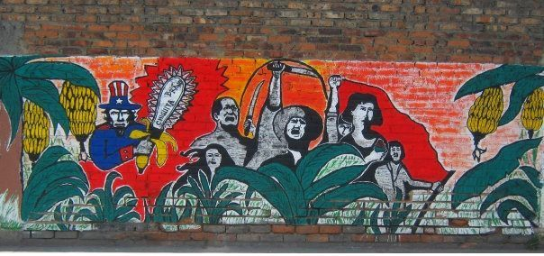 In Bogota, Colombia, a mural commemorates the 80th anniversary of the Banana Massacre in 2008. / fuckyeahmarxismleninism.tumblr.com