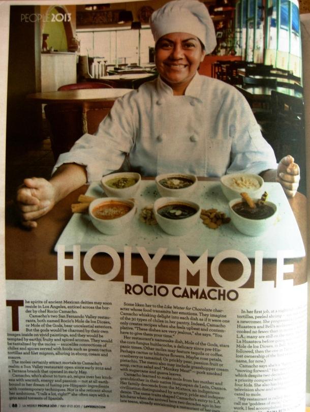 """""""Rocio Camacho: Goddess of Mole"""" in print."""