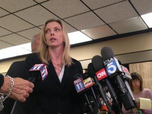 Deputy District Attorney Michele Hannisee speaking about the Bryan Stow case. | Daina Beth Solomon