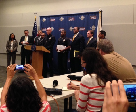 LAPD Commander Andrew Smith speaks to press about the beating death of Xinran Ji. | Daina Beth Solomon