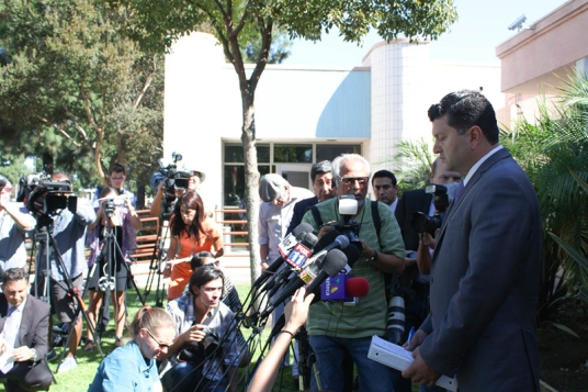 Levette Crespo's attorney, Eber Bayona, speaks to press. | Daina Beth Solomon