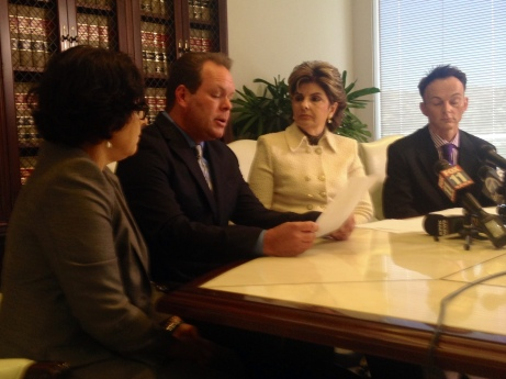 Gloria Allred leads a press conference at her office about her client's lawsuit against Little Caesar's.